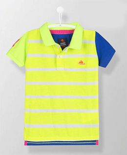Cherry Crumble California Neon Striped Polo Tee - Yellow & Blue