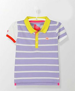 Cherry Crumble California Foxy Polo Tee - Purple & White