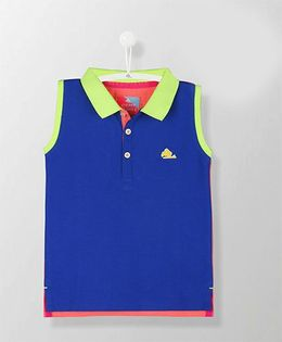 Cherry Crumble California Sleeveless Polo Tee - Royal Blue