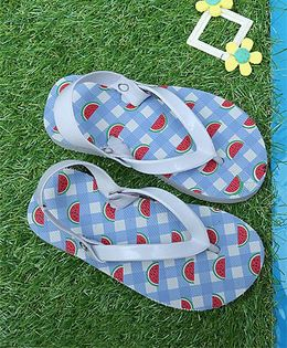 D'chica Watermelon Print Flip Flops With Elastic - Blue