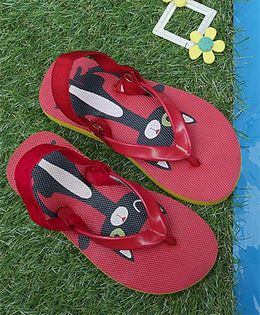 D'chica Cat Print Flip Flops With Elastic - Red