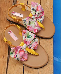 D'chica Peppa Pig Bow Sandals - Yellow