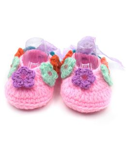 Magic Needles Handmade Crochet Turkish Yarn Ballerina Booties With Flowers And Ribbons - Pink