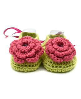 Magic Needles Crochet Turkish Yarn Ballerina Booties With Flowers And Ribbons - Green & Pink