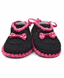 Magic Needles Handmade Crochet Turkish Yarn Booties With Bow And Ribbons - Black & Pink