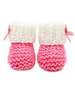 Magic Needles Handknitted Turkish Yarn Sneakers Booties With A Bow - Pink