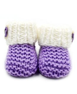 Magic Needles Turkish Yarn Sneakers Booties With A Bow - Purple