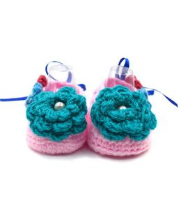 Magic Needles Crochet Booties With Bow And Ribbons - Baby Pink & Blue