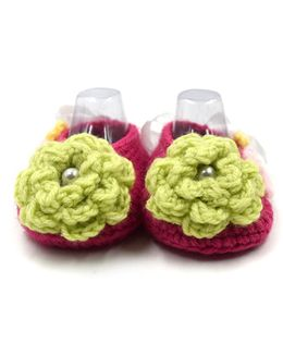 Magic Needles Crochet Booties With Bow And Ribbons - Dark Pink & Yellow