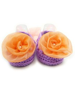 Magic Needles Crochet Turkish Yarn Booties With Bow And Ribbons - Purple & Orange