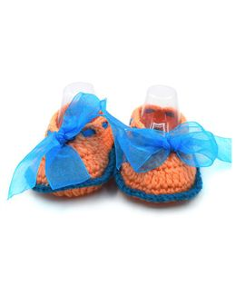Magic Needles Booties With Bows And Ribbons - Peach & Blue