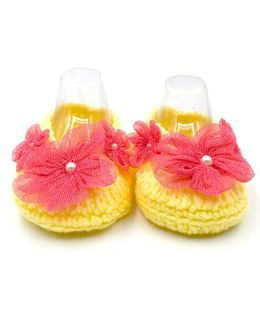Magic Needles Handmade Crochet Booties With Flowers - Yellow