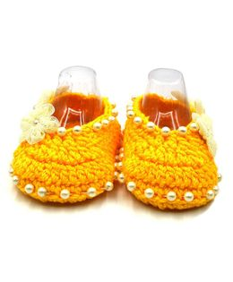 Magic Needles Handmade Crochet Turkish Yarn Booties With Flowers And Pearls - Yellow