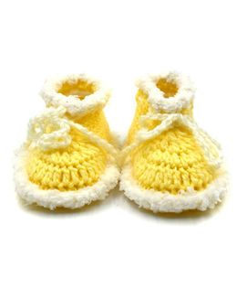 Magic Needles Handmade Crochet Turkish Yarn Mink Booties - Yellow