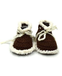 Magic Needles Handmade Crochet Turkish Yarn Mink Booties - Dark Brown