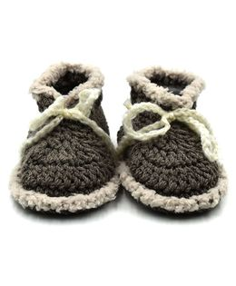Magic Needles Handmade Crochet Turkish Yarn Mink Booties - Grey