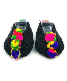Magic Needles Handmade Crochet Turkish Yarn Glitter Mojaris Booties With Pompoms - Black