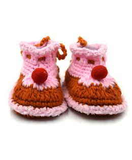 Magic Needles Handmade Crochet Turkish Yarn Cupcake Booties - Pink