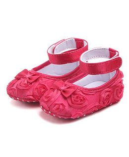 Dazzling Dolls Satin Rose Applique Booties With Bow - Pink
