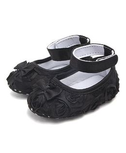 Dazzling Dolls Satin Rose Applique Booties With Bow - Black