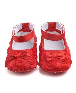 Dazzling Dolls Satin Rose Applique Booties With Bow - Red