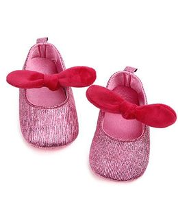 Dazzling Dolls Glittery Booties With Knot - Pink
