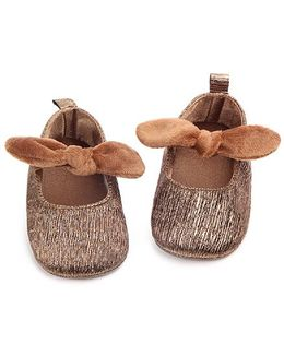 Dazzling Dolls Glittery Booties With Knot - Brown