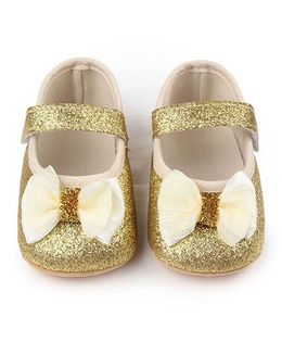 Dazzling Dolls Glittery Booties With Bow - Gold