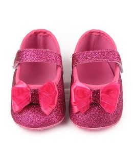Dazzling Dolls Glittery Booties With Bow - Dark Pink