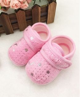 Dazzling Dolls Stars And Moons Print Booties - Pink
