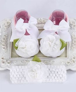 Dazzling Dolls Rose Applique Booties & Headband Set - White