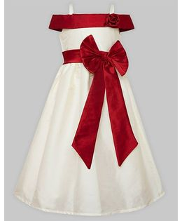 A.T.U.N Off Shoulder Gown - White & Red