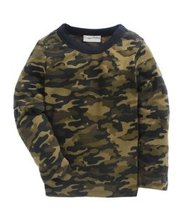 Crayonflakes Camouflage Printed Full Sleeves T-Shirt - Green