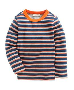 Crayonflakes Striped Full Sleeves T-Shirt - Blue