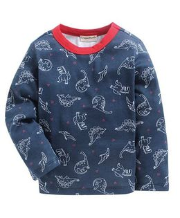 Crayonflakes Dinos On Full Sleeves T-Shirt - Navy