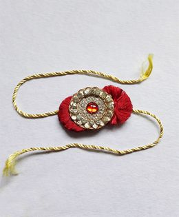 Sugarcart Resham Rakhi Studded With Kundan Work Motif - Maroon