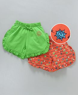 Tambourine Set Of 2 Printed & Solid Frill Shorts - Green & Orange