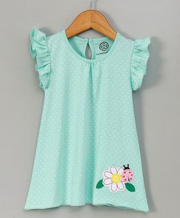 Tambourine Polka Dot Frill Dress With Flower Applique - Light Green