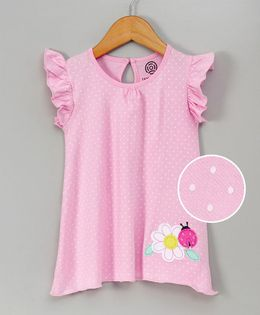 Tambourine Polka Dot Frill Dress With Flower Applique - Light Pink