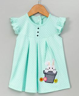 Tambourine Rabbit Applique Frill Dress - Green