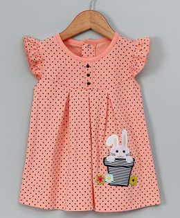 Tambourine Rabbit Applique Frill Dress - Peach