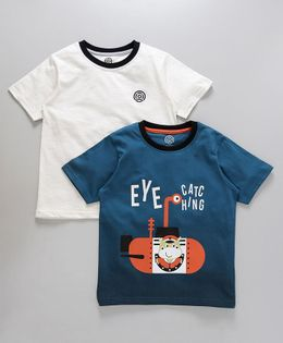 Tambourine Set Of 2 Eye Catching Printed Tees - White & Blue