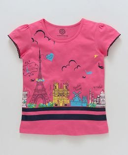 Tambourine Paris Theme Tee - Fuschia