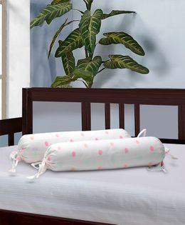 The Baby Atelier Bolster Cover With Fillers Polka Dot Print - White & Pink