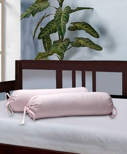 The Baby Atelier Bolster Cover With Fillers Dash Pattern - Pink & White