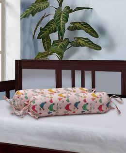 The Baby Atelier Bolster Cover With Fillers Chicken & Egg Print - Peach