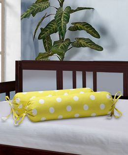 The Baby Atelier Bolster Cover Without Fillers Polka Dots - Yellow & White