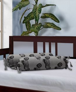 The Baby Atelier Bolster Cover Without Fillers Retro Bikes Print - Black & Grey