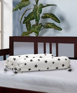 The Baby Atelier Bolster Cover Without Fillers Star Print - Black & White