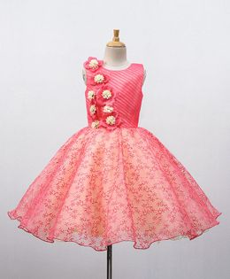 Bluebell Sleeveless Party Wear Frock With Floral Motif Bodice - Pink